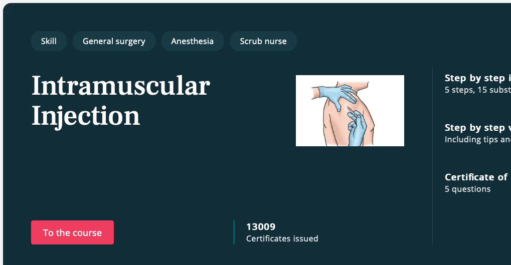 Free covid-19 course Intramuscular injection