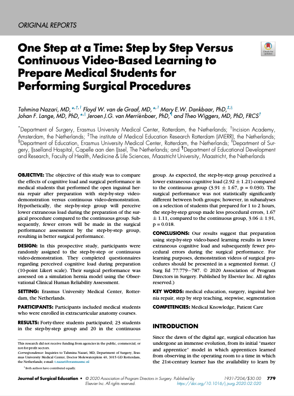 One step at a time: step by step versus continuous video to prepare medical students to perform open inguinal hernia repair
