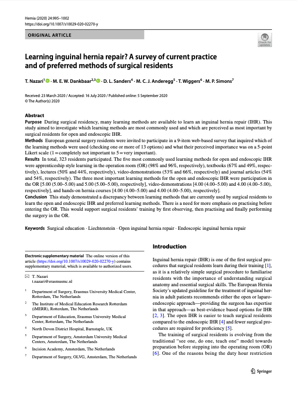 Learning inguinal hernia repair? A survey of current practice and of preferred methods of surgical residents