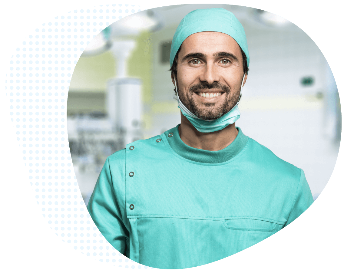 Resident smiling in operating room