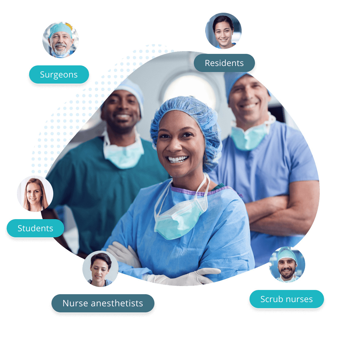 OR team in operating room composited visual with surgeons residents  stidents nurse anesthetists scrub nurses